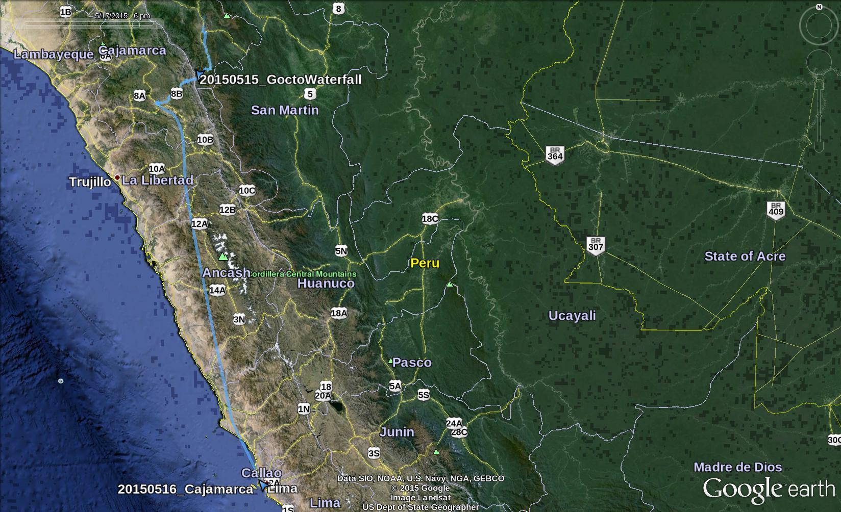 GPS Tracks from Chachapoyas to Lima via